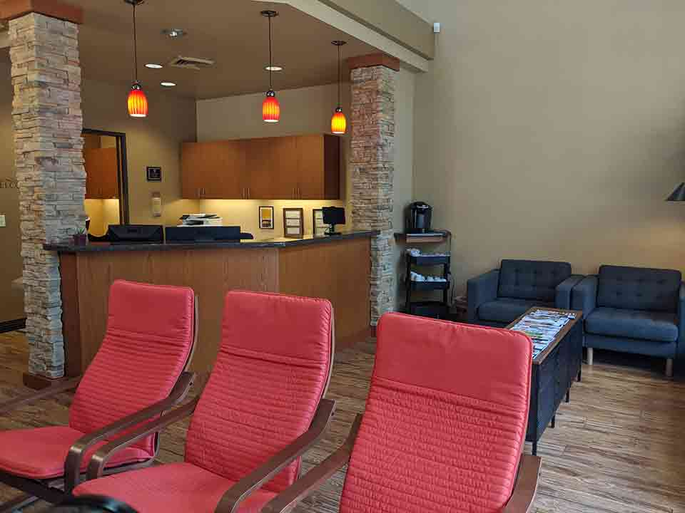 Waiting and reception area at Senestraro Family Orthodontics in Wilsonville.